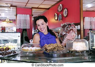 gâteaux, elle, business, projection, propriétaire, savoureux, petit, magasin