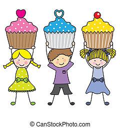 gâteaux, enfants