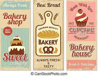 gâteaux, restaurant, doux, cuisine, logotype, banners., boulangerie, vecteur, gabarit, menu, projets, cuisine
