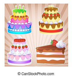 gâteaux, vacances, doux, s, une, 3, gâteau chocolat, morceau