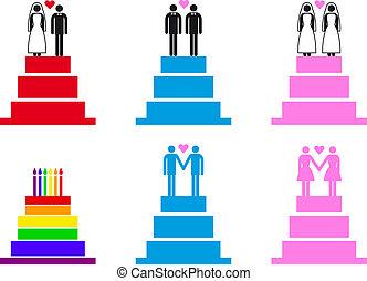gâteaux, vecteur, couples, mariage