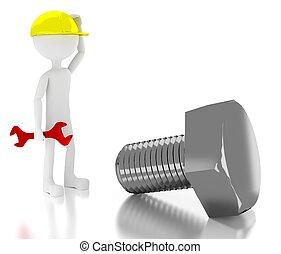 géant, sur, ouvrier, confondu, personne, construction, boulon, 3d
