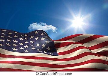 généré digitalement, américain, ondulation, drapeau