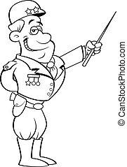 général, dessin animé, pointage, uniforme