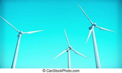 générateur, render, animation, boucle, turbine, vent, 3d