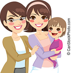 génération, jeune famille, trois