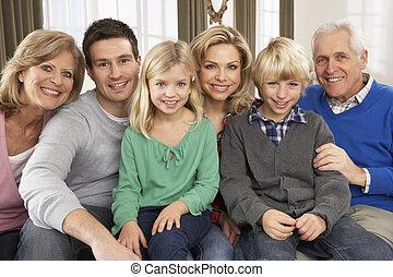 génération, maison, trois, portrait famille