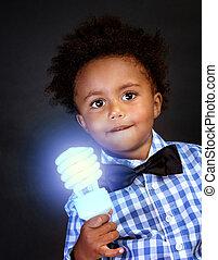 génie, peu, éclairé, lampe