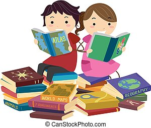 géographie, livres, stickman, lecture, gosses