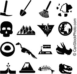 géologie, ensemble, icônes