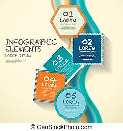 géométrie, infographic, éléments, étiquette
