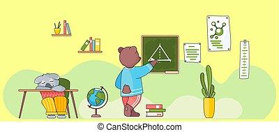 géométrie, lesson., animals., dos, board., ours, sauvage, eduquer leçon, craie, écriture