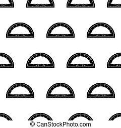 géométrie, outillage, rapporteur, seamless, modèle, icône