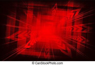 géométrique, arrows., fond, rouges