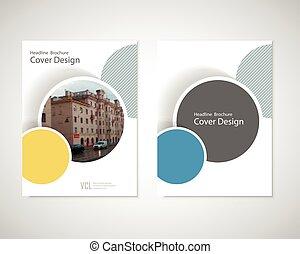 géométrique, brochure, livre, ou, annuel, rond, conception, couverture, cercle, minimal, fond, rapport, aviateur, vous, résumé, affiche, formes