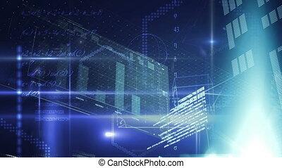 géométrique, figures, futuriste, graphiques, fond, interface, programme, codes