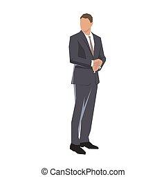 géométrique, homme affaires, vecteur, isolé, plat, design., illustration., debout