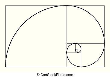 géométrique, illustration., spiral., concept., vecteur, proportion, doré, fibonacci