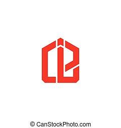 géométrique, linéaire, lettre, cérium, simple, vecteur, logo