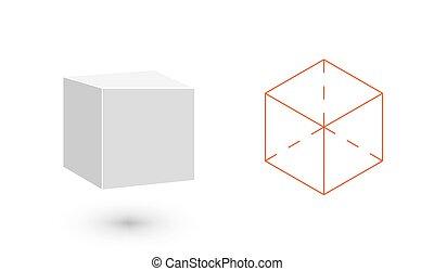 géométrique, solide, vecteur, minimaliste, conception, illustration, cube, amende, design., pellicule, ligne., hipster, illustration, plat, bodies., art, mode, figure.
