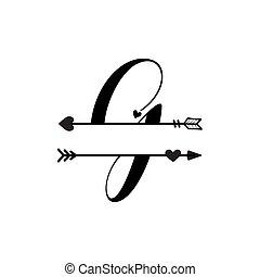 g, initiale, vecteur, monogram, fente, isolé, lettre amour