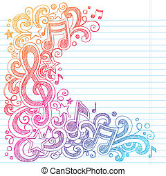g, notes, sketchy, musique, doodles, clef
