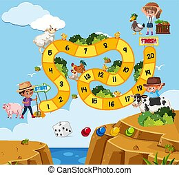 gabarit, animaux, gens, conception, boardgame