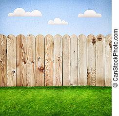gabarit, barrière, bois, herbe, vert, conception