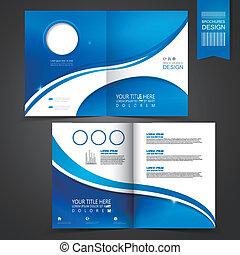 gabarit, bleu, brochure, conception, publicité