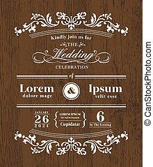 gabarit, bois, vendange, invitation, typographie, conception, fond, mariage