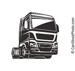 gabarit, cargaison, logo, camion, fret