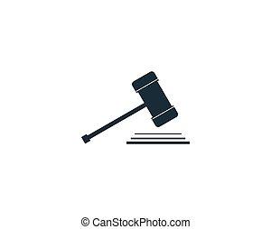 gabarit, droit & loi, illustration, conception, icône, vecteur, bureau, logo, marteau