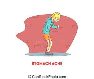 gabarit, estomac, garçon, douleur, douleur, souffrance, illustration, vecteur, abdominal, bannière