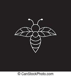 gabarit, icône, abeille, conception, logo