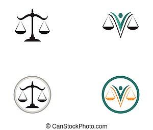 gabarit, icônes, justice, app, symboles, avocat, logo