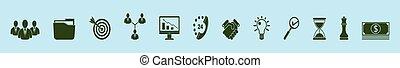 gabarit, illustration, isolé, ensemble, icône, divers, fond, vecteur, business, models., finance, dessin animé, conception, bleu