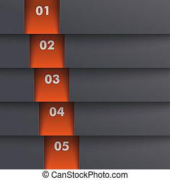gabarit, options, 5, profondeur, noir, orange, piad, conception
