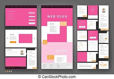 gabarit, site web, éléments conception, interface
