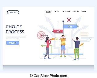 gabarit, site web, vecteur, atterrissage, conception, processus, choix, page