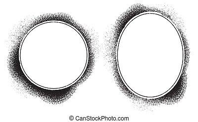 gabarit, texte, vecteur, ovale, vide, image, cadre, vide, ou, grunge, éclaboussure, retro, forme, fond, graphique, vendange, illustration, frontière, photo, grain, rond, images, transparent
