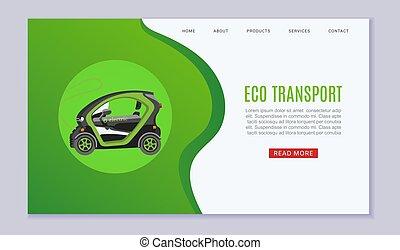 gabarit, toile, eco, vecteur, illustration., écologique, transport, website., batterie, vert, e-car, actionné, concept, electromobile, électrique, auto
