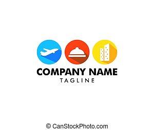 gabarit, voyage, logo, conception, vecteur