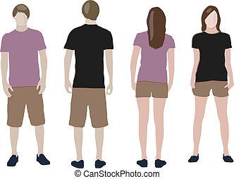 &, gabarits, back), t-shirt, conception, (front