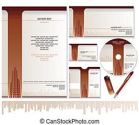 gabarits, carte affaires, enveloppe, conception, brochure