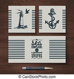 gabarits, croquis, ensemble, voyage, main, banners., vecteur, conception, mer, nautique, illustrations, dessiné, identité