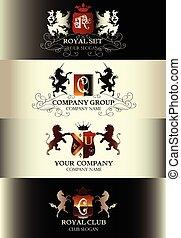 gabarits, ensemble, business, menu restaurant, boutique, étiquettes, logotype, collection, signe, redevance, luxe, vendange, identité