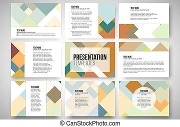 gabarits, ensemble, coloré, résumé, slides., illustration, fond, vecteur, carrée, 9, conception, présentation