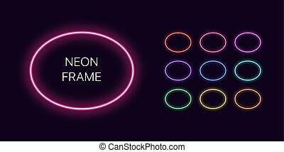 gabarits, ensemble, néon, space., copie, monochrome, ovale, frontière