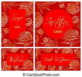 gabarits, ensemble, pivoine, main, mariage, dessiné, fleurs