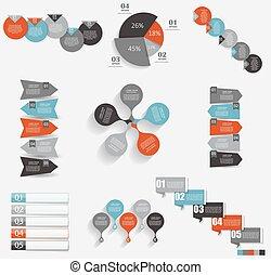 gabarits, illustration affaires, infographic, vecteur, collection